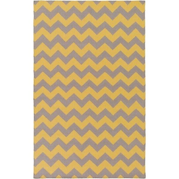Hand-woven Flat Weave Yellow Area Rug - 9' x 13'