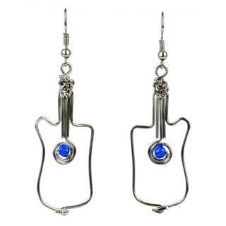 Handmade Wire and Blue Bead Guitar Earrings (Kenya)