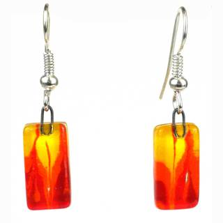 Handmade Fire Design Small Glass Earrings (Chile)