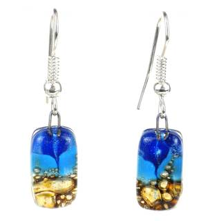 Handmade Blue Sky Mosaic Fused Glass Earrings (Chile)