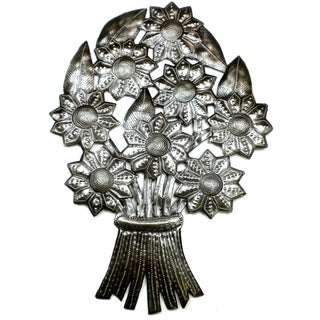 Handcrafted Bouquet of Flowers Metal Wall Art (Haiti)