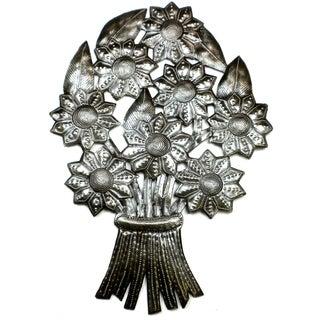 Handmade Bouquet of Flowers Metal Wall Art (Haiti)