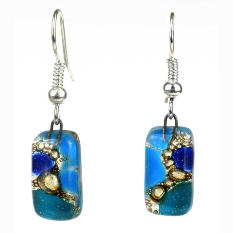 Handmade Blue Earthtones Small Fused Glass Earrings (Chile)