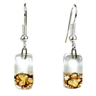 Handmade Snow-Capped Earth Design Small Glass Dangle Earrings (Chile)