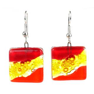 Handmade Red Wave Square Fused Glass Earrings (Chile)