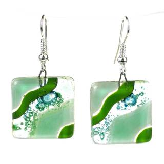 Handmade Emerald Isle Square Fused Glass Earrings (Chile)