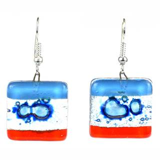 Handmade Women's Blue Horizon, Square Fused, Glass Dangling Earrings (Chile)