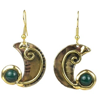 Handcrafted Crescent and Green Jade Earrings (South Africa)