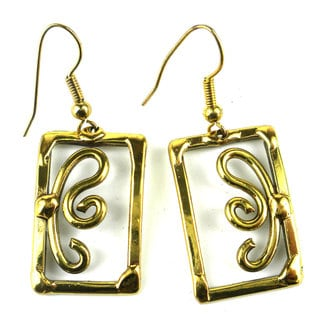Handcrafted Open Scroll-work Brass Earrings (South Africa)
