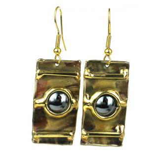 Handmade Between the Lines Hematite Brass Earrings (South Africa)