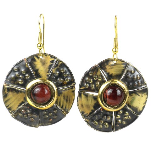 Handmade Roulette Red Tiger Eye Brass Earrings (South Africa)