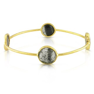 Miadora 22K Yellow Goldplated Silver Rutilated Quartz Bangle