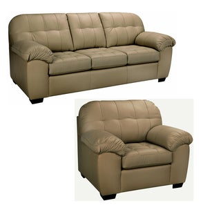 Sophia Taupe Italian Leather Sofa and Chair