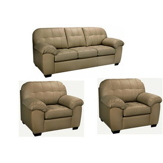 Sophia Taupe Italian Leather Sofa and Two Chairs