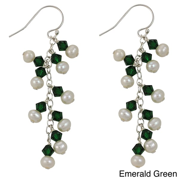 Sterling Silver Freshwater Pearl Crystal Earrings (3-4 mm)
