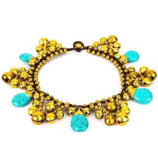 Thai-handicraft Turquoise and Brass 'Teardrop' Anklet (Thailand)