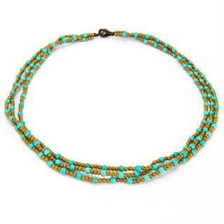 Thai-handicraft Triple Strand Turquoise Necklace (Thailand)