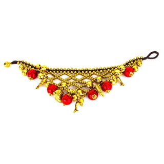 Thai-handicraft Red Coral and Brass 'Under the Sea' Bracelet (Thailand)
