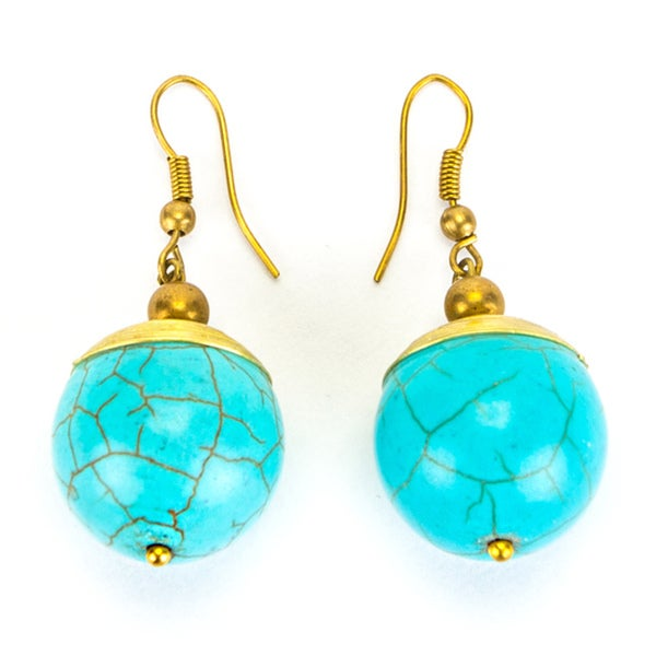 Thai-handicraft Turquoise and Brass 'Drop' Earrings (Thailand)