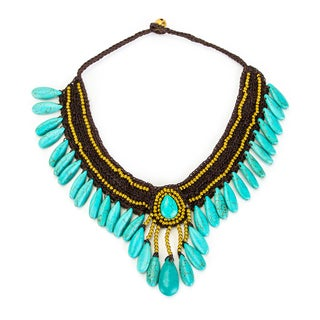 Thai-handicraft Turquoise and Brass 'Blue Princess' Necklace (Thailand)