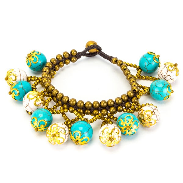 Thai-handicraft White and Blue Turquoise Bracelet (Thailand)