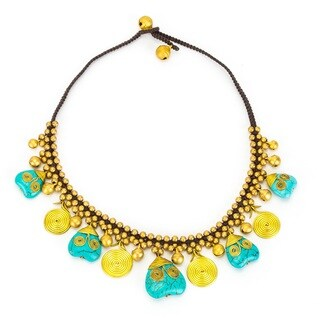 Thai-handicraft Turquoise and Brass 'Hearts and Flowers' Drop Necklace (Thailand)