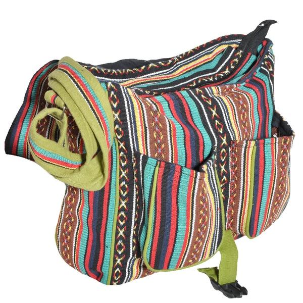 Handmade 'Go Green' Olive Messenger Bag (Nepal)