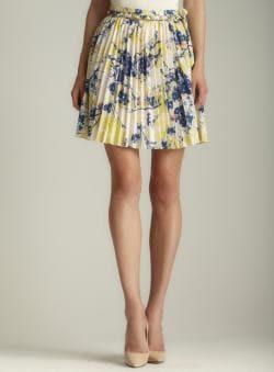 Darling Tie Waist Floral Pleated Skirt