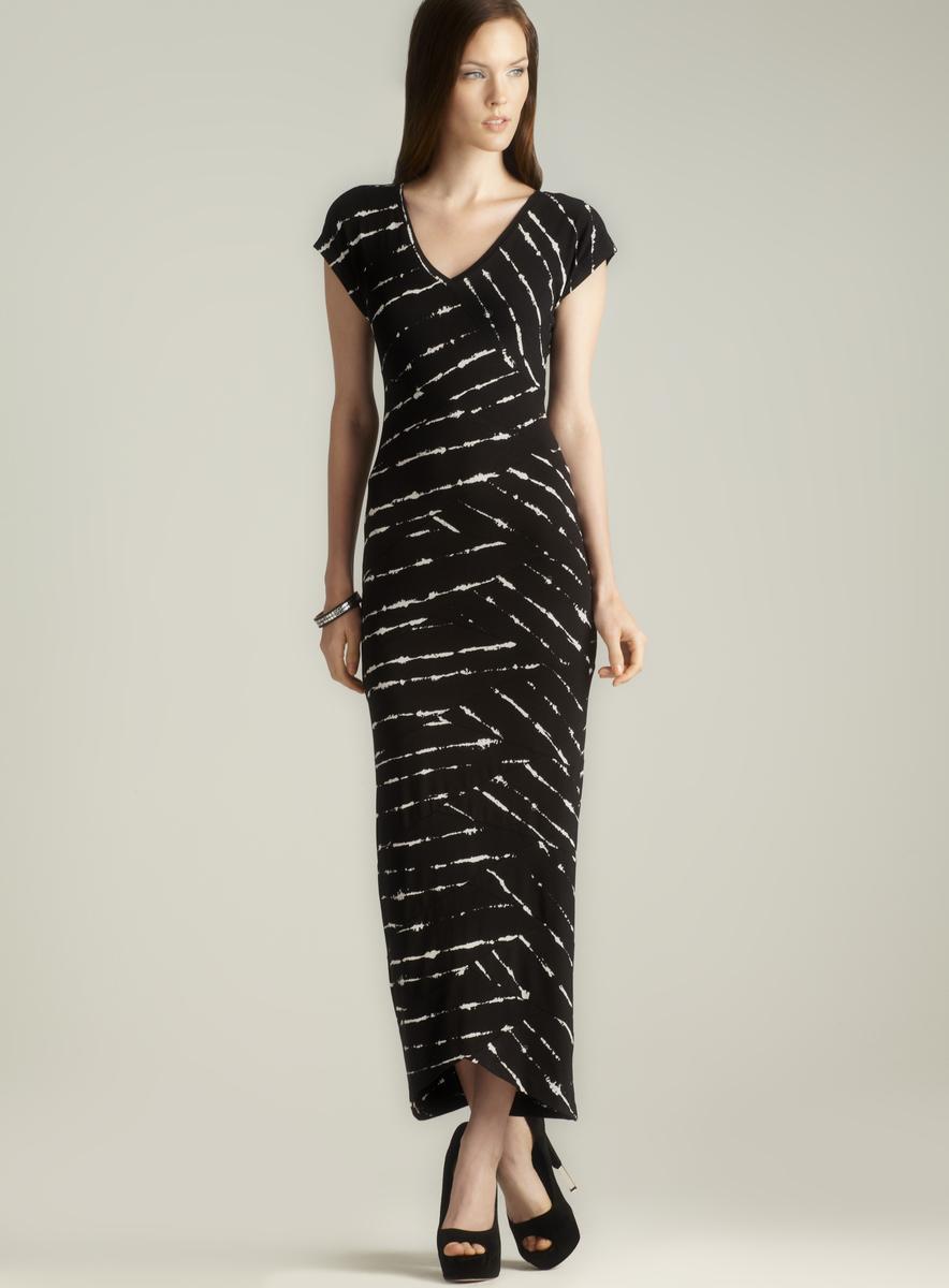 Nicole Miller Criss Cross Seam Double V Printed Dress