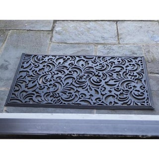 Scroll Flowers Recycled Rubber Doormat