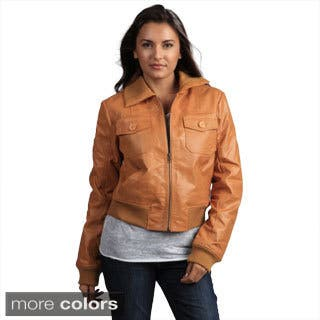 Tanners Avenue Women's Genuine Leather Bomber Jacket|https://ak1.ostkcdn.com/images/products/8095491/P15446842.jpg?impolicy=medium