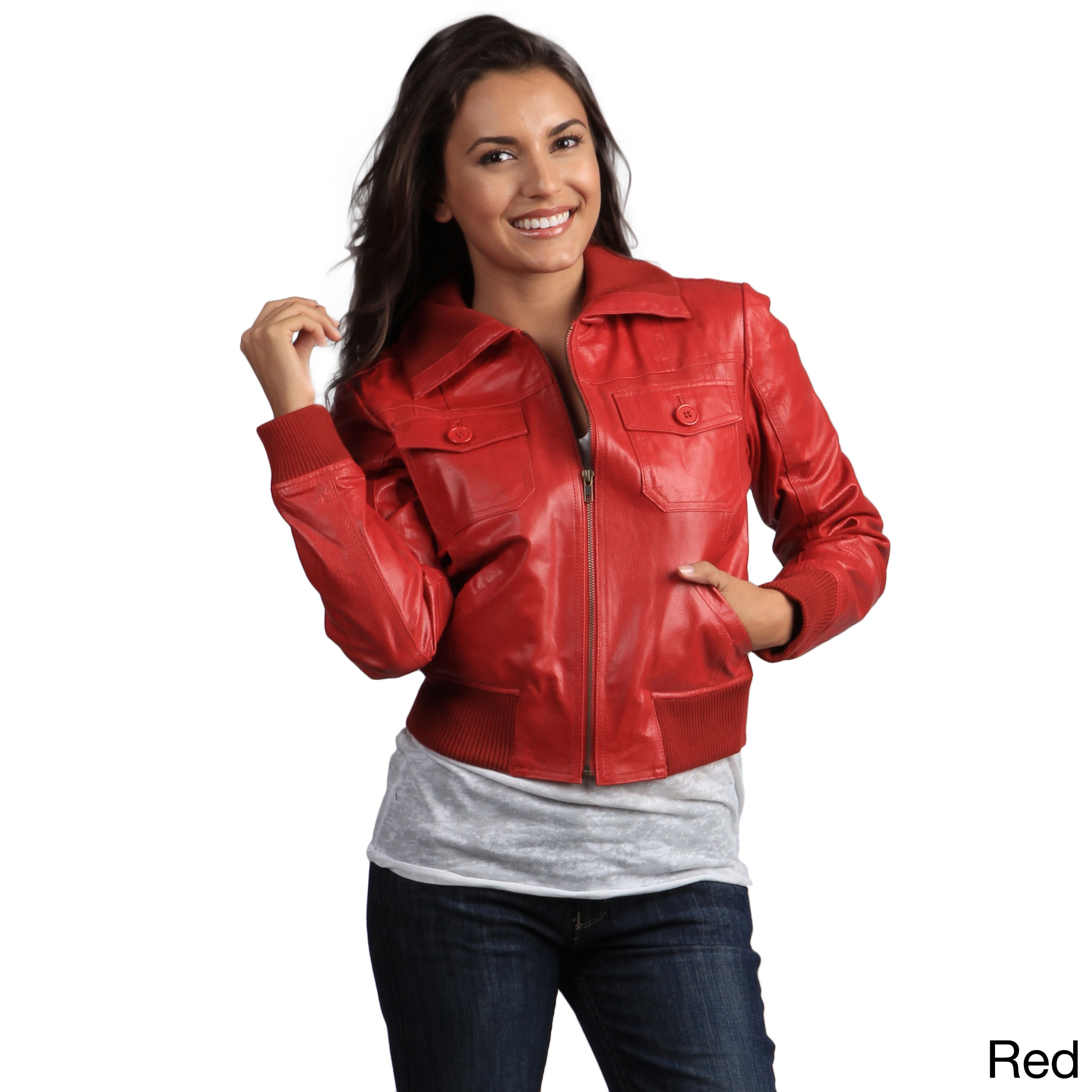 Tanners Avenue Women's Genuine Leather Bomber Jacket (Red...
