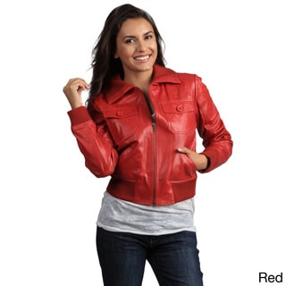 Tanners Avenue Women's Genuine Leather Bomber Jacket