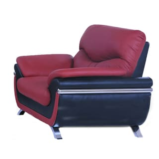 Alica Modern Black Red Faux Leather Chair 15446847