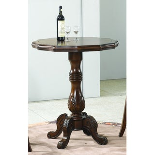 Round 36-inch Walnut Finish Carved Wooden Pedestal Pub Table
