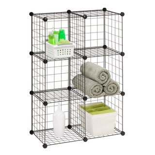6 Pack Modular Mesh Storage Black Cube