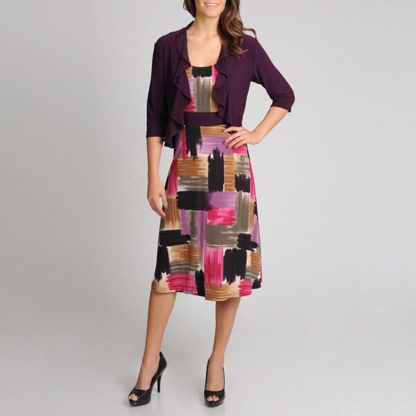 R & M Richards Women's 2-piece Ruffle Jacket Dress