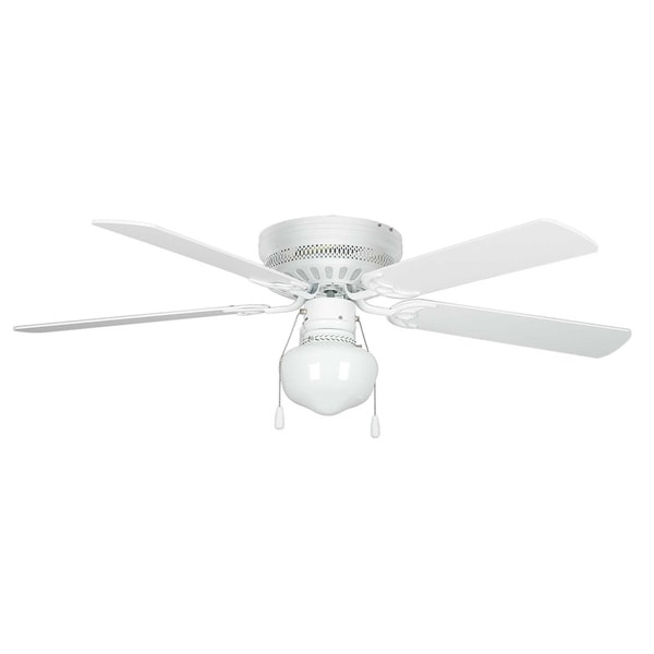 52 Inch One Light Five Blade Ceiling Fan / Schoolhouse Glass Light Kit ...