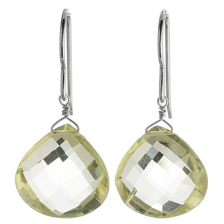 Ashanti Silver Lemon Quartz Faceted Large Briolette Earrings (Sri Lanka)