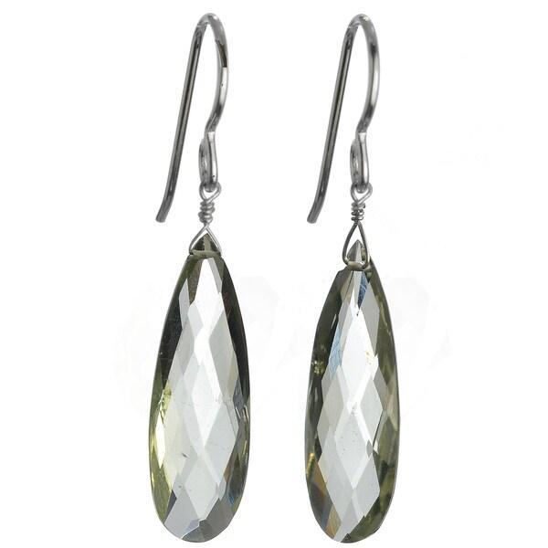 Ashanti Silver Green Amethyst Faceted Long Briolette Earrings (Sri Lanka)