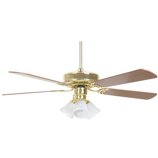 52 Inch Five Blade Three Light Ceiling Fan / Turtle Light Kit