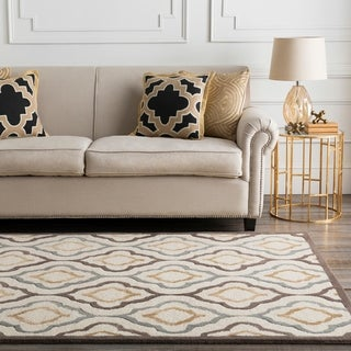 Hand-tufted Modern Geometric Beige Wool Area Rug - 9' x 13'
