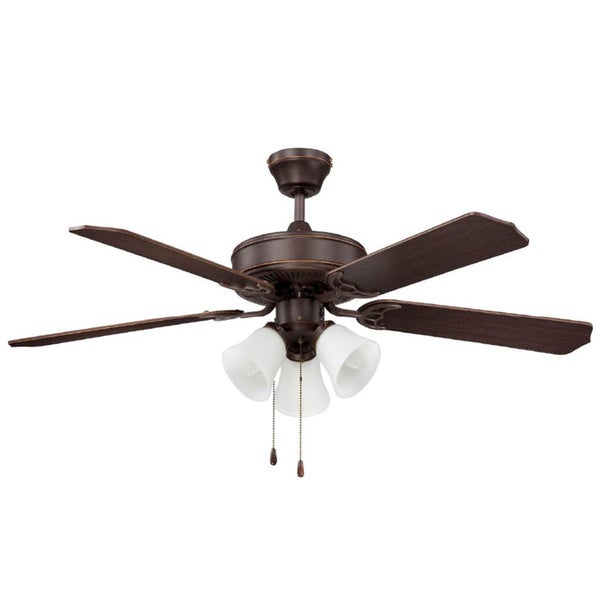 shop 52 inch three light five blade ceiling fan turtle light kit free shipping today. Black Bedroom Furniture Sets. Home Design Ideas