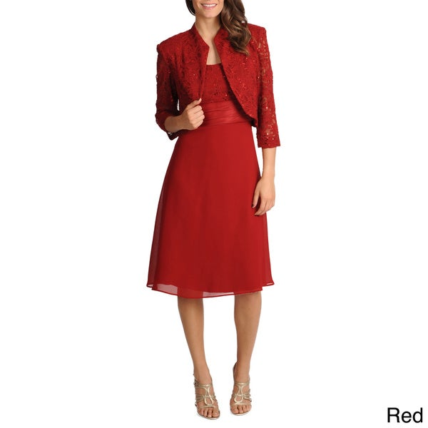 R & M Richards Women's Polyester 2-piece Mandarin Jacket Dress Set