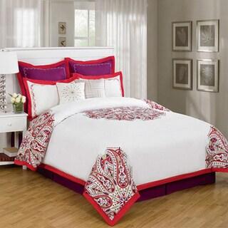 Bea Red Medallion Over Filled 8-piece Comforter Set