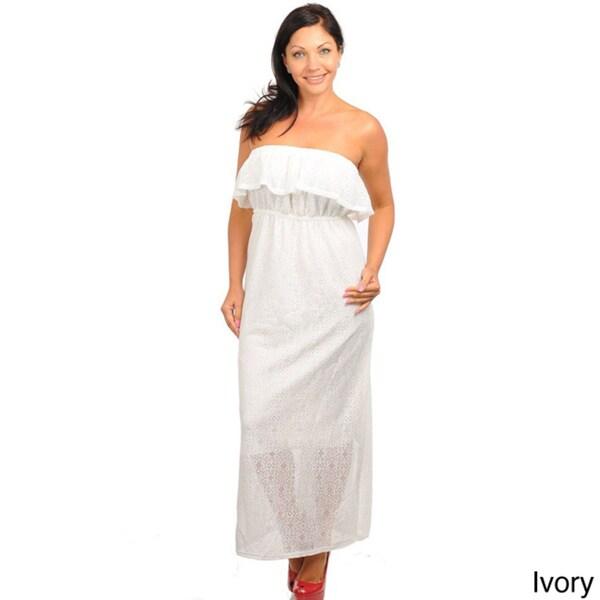 Shop Stanzino Women\'s Plus Size Strapless Flounce Maxi Dress - Free ...
