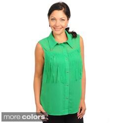 Stanzino Women's Plus Size Sleeveless Button-down Fringe Top