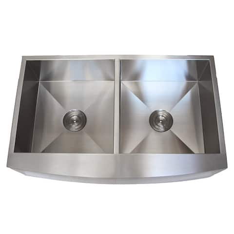 Stainless Steel Farmhouse Double Bowl Curve Apron Kitchen Sink