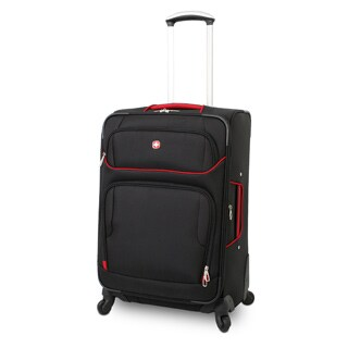 Wenger Swiss Gear Black/Red 28-inch Expandable Lightweight Spinner Upright Suitcase