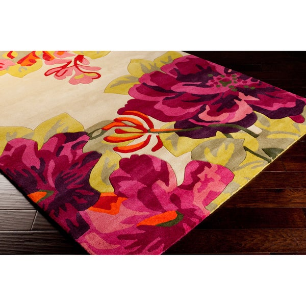 Hand-tufted Pink Floral Wool Area Rug - 8' x 11'